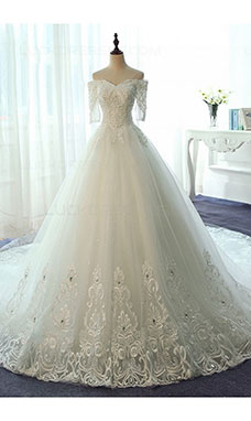 Ball Gown Off-the-shoulder Half Sleeve Lace Wedding Dress