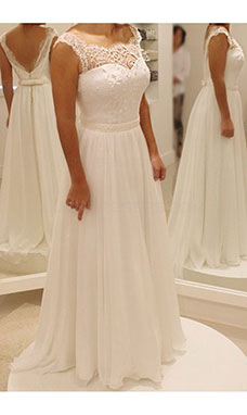 A-line Scalloped-Edge Sleeveless Chiffon Wedding Dress