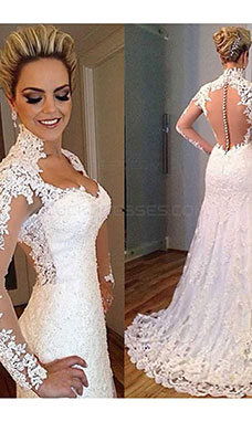A-line Sweetheart Long Sleeve Lace Wedding Dress