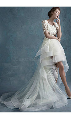 A-line Square Short Sleeve Tulle Wedding Dress