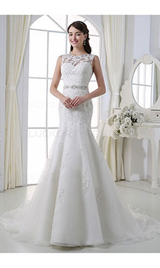 Trumpet/Mermaid Bateau Sleeveless Organza Wedding Dress