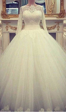 Ball Gown Bateau Long Sleeve Lace Wedding Dress
