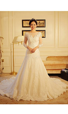 A-line Bateau 3/4 Length Sleeve Lace Wedding Dress