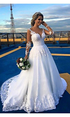A-line Scoop Long Sleeve Lace Wedding Dress