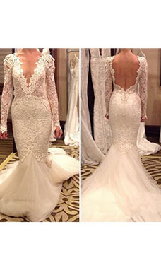 Trumpet/Mermaid V-neck Long Sleeve Lace Wedding Dress