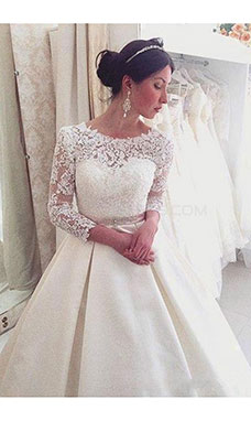 Ball Gown Scoop Long Sleeve Satin Wedding Dress
