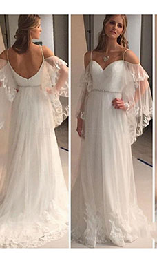 A-line Sweetheart Sleeveless Tulle Wedding Dress