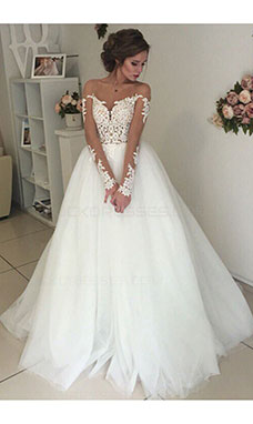 A-line Scoop Long Sleeve Tulle Wedding Dress