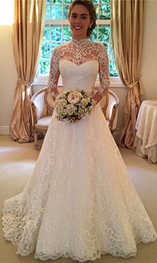 A-line High Neck Long Sleeve Tulle Wedding Dress