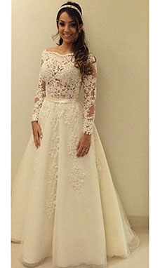 A-line Square Long Sleeve Tulle Wedding Dress