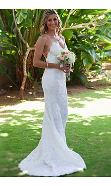 Trumpet/Mermaid Spaghetti Straps Sleeveless Lace Wedding Dress