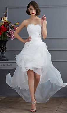 A-line Sweetheart Sleeveless Organza Wedding Dress