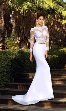 Sheath/Column Scoop Long Sleeve Satin Wedding Dress