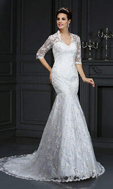 Trumpet/Mermaid V-neck Half Sleeve Lace Wedding Dress
