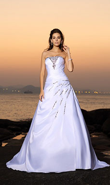 A-line Strapless Sleeveless Satin Wedding Dress
