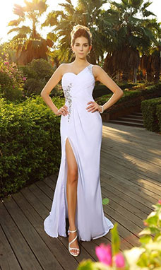 A-line One Shoulder Sleeveless Chiffon Wedding Dress