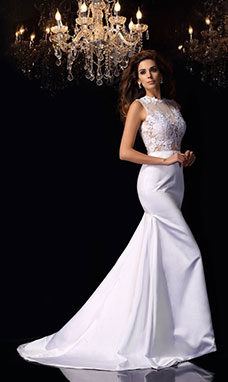 Trumpet/Mermaid High Neck Sleeveless Satin Wedding Dress