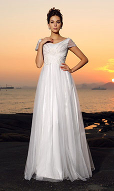 A-line V-neck Short Sleeve Tulle Wedding Dress