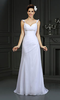 Trumpet/Mermaid Sweetheart Sleeveless Chiffon Wedding Dress