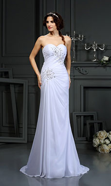 Sheath/Column Sweetheart Sleeveless Chiffon Wedding Dress
