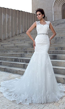 Trumpet/Mermaid V-neck Sleeveless Tulle Wedding Dress
