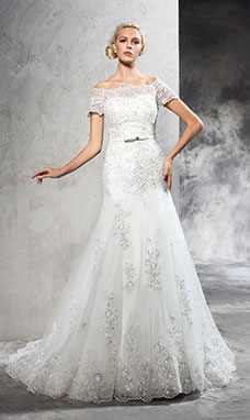 Sheath/Column Off-the-shoulder Short Sleeve Tulle Wedding Dress