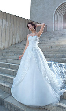 Ball Gown Sweetheart Sleeveless Lace Wedding Dress