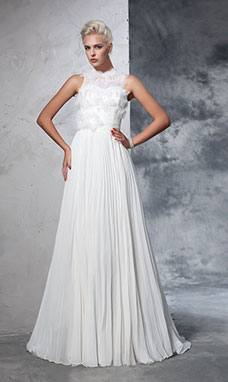 A-line High Neck Sleeveless Chiffon Wedding Dress