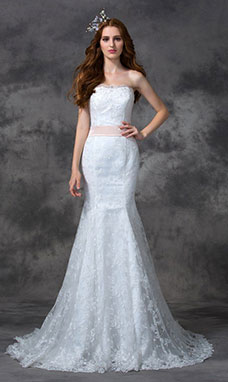 Trumpet/Mermaid Sweetheart Sleeveless Lace Wedding Dress