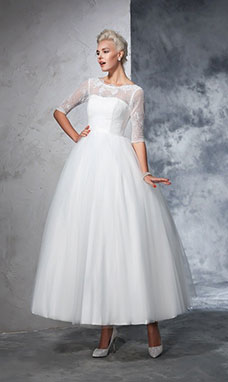 Ball Gown Scalloped-Edge Half Sleeve Tulle Wedding Dress