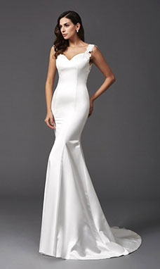 Trumpet/Mermaid Sweetheart Sleeveless Satin Wedding Dress
