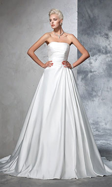 Ball Gown Strapless Sleeveless Satin Wedding Dress