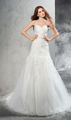 Sheath/Column Sweetheart Sleeveless Tulle Wedding Dress