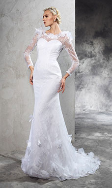 Sheath/Column Scoop Long Sleeve Lace Wedding Dress