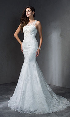 Trumpet/Mermaid Scoop Sleeveless Lace Wedding Dress