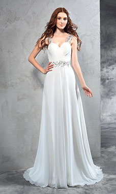 A-line Sweetheart Sleeveless Chiffon Wedding Dress