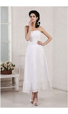 A-line Strapless Sleeveless Chiffon Wedding Dress