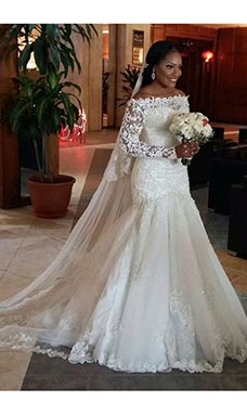 Trumpet/Mermaid Off-the-shoulder Long Sleeve Tulle Wedding Dress
