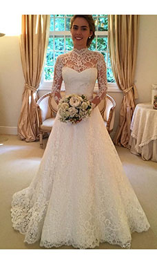 Ball Gown High Neck Long Sleeve Lace Wedding Dress