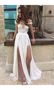 A-line V-neck Short Sleeve Chiffon Wedding Dress