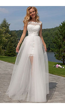 Sheath/Column Scoop Sleeveless Tulle Wedding Dress
