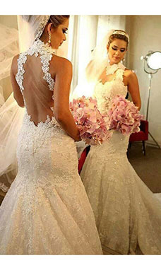 Trumpet/Mermaid High Neck Sleeveless Lace Wedding Dress