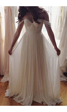 A-line Off-the-shoulder Sleeveless Chiffon Wedding Dress