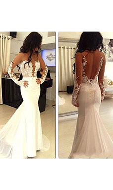 Trumpet/Mermaid Scoop Long Sleeve Chiffon Wedding Dress