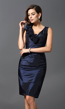 Sheath/Column V-neck Sleeveless Taffeta Dress