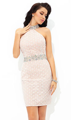 Sheath/Column High Neck Sleeveless Lace Dress