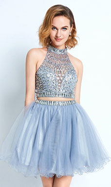 A-line High Neck Sleeveless Tulle Dress