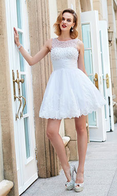 A-line Jewel Sleeveless Lace Dress