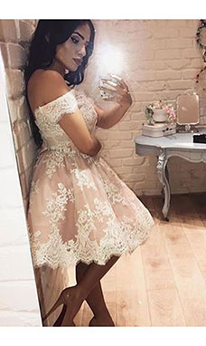 A-line Off-the-shoulder Sleeveless Lace Dress