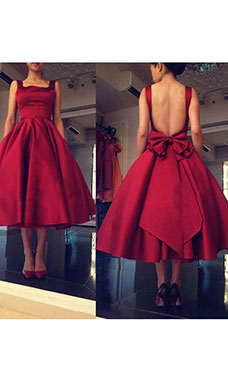 A-line Square Sleeveless Satin Dress